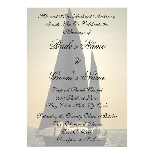 Sunset Sailboat Tropical Wedding Invitation