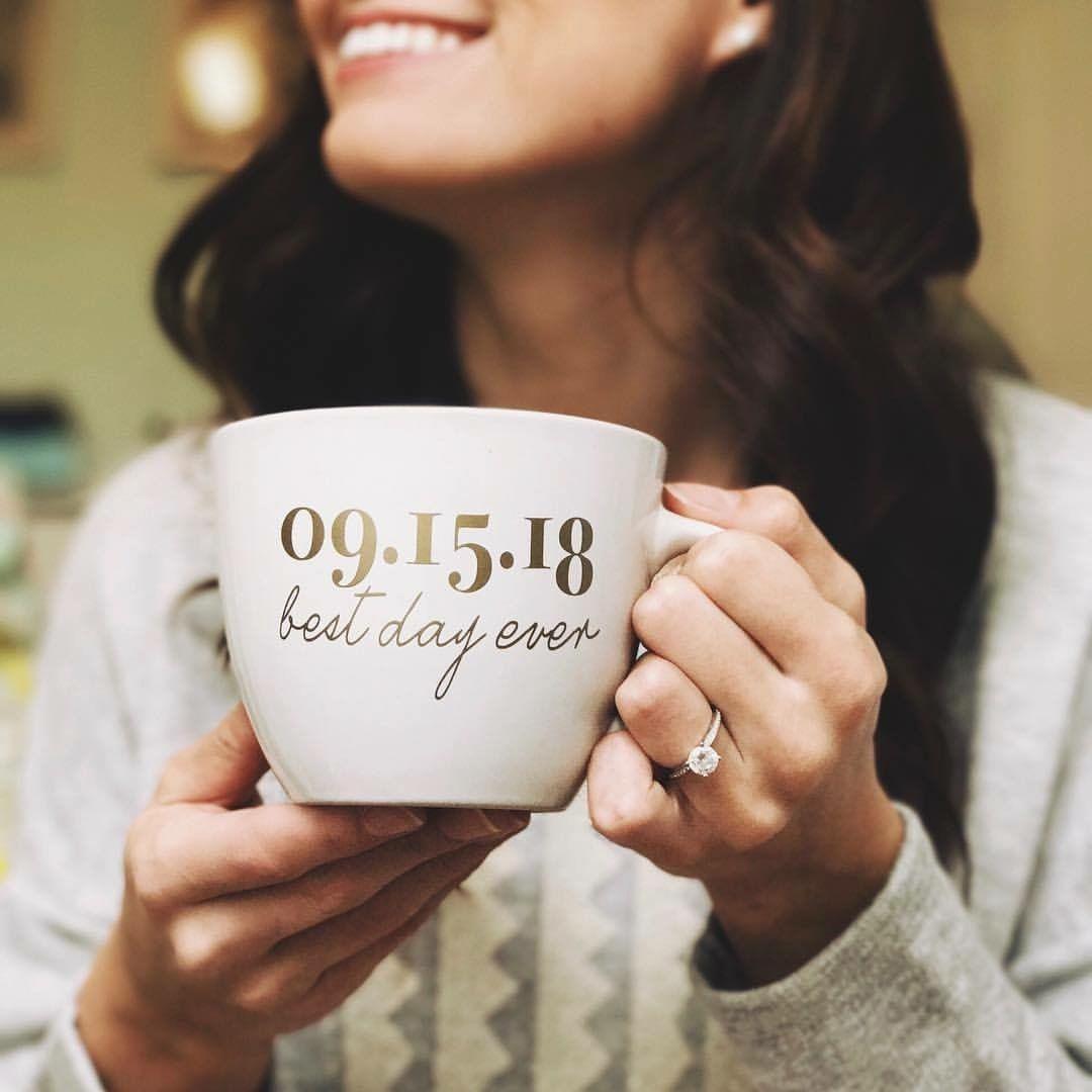 So cute Custom Wedding Date mug with Best Day Ever design Find it