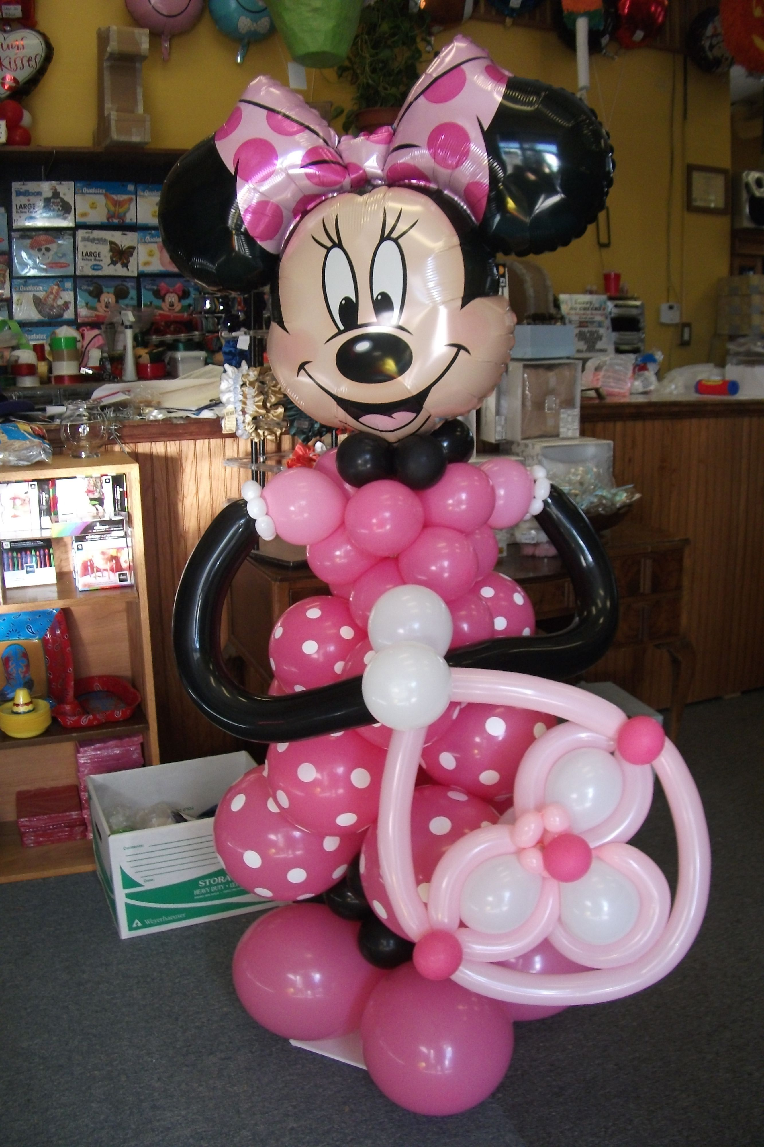Here is our Minnie Mouse. She is just about 5 feet tall and would make a wonderful surprise for a little girls birthday party. Designed by Balloons by Night Moods in Juneau, Alaska 523-1099 www.juneausbestballoons.com