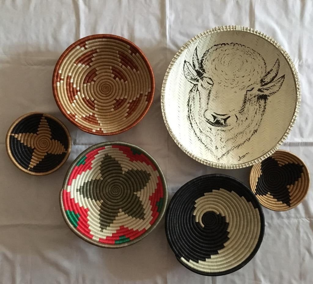 Set Of 6 Woven Baskets African Wall Decor Basket Beautiful Basket Accent African Gifts Bread Basket Tribal Decor Baskets Decor Tanzania Basket Decoration