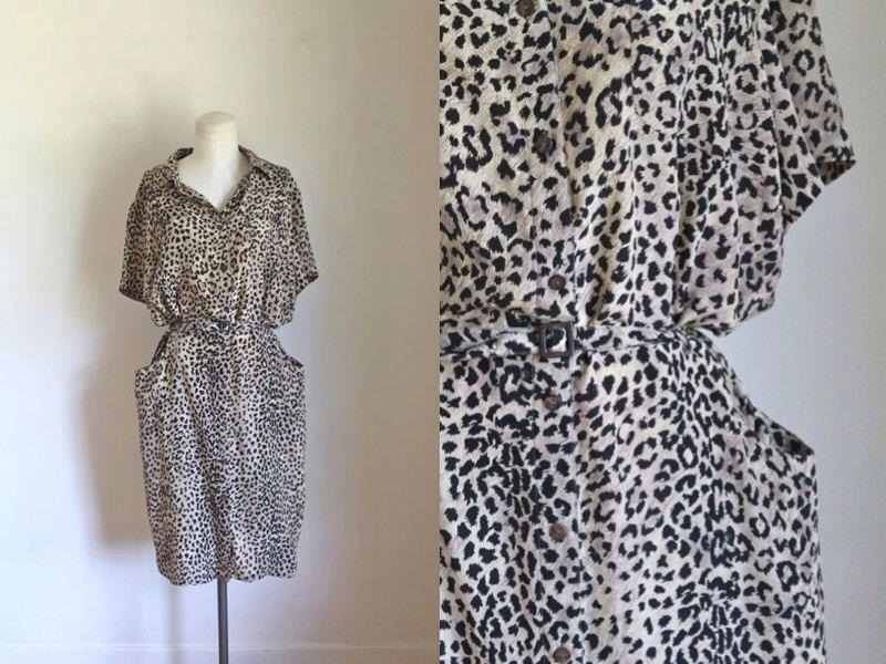 vintage leopard print dress - CHEETAH silk animal print shirt dress   M by  MsTips on c27d2fd94