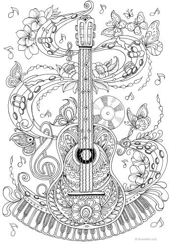 Guitar #adultcoloringpages