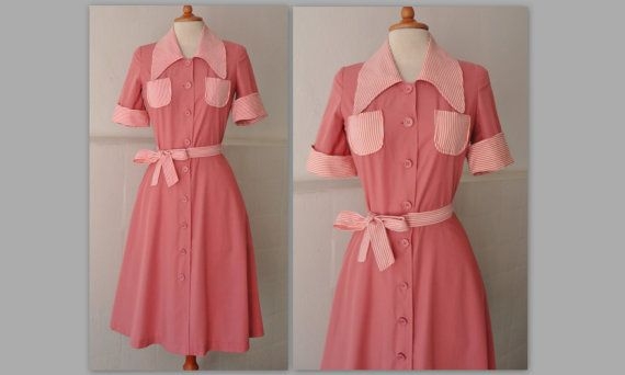 70s Vintage Pink Dress With White Stripes by Zappasvintage on Etsy