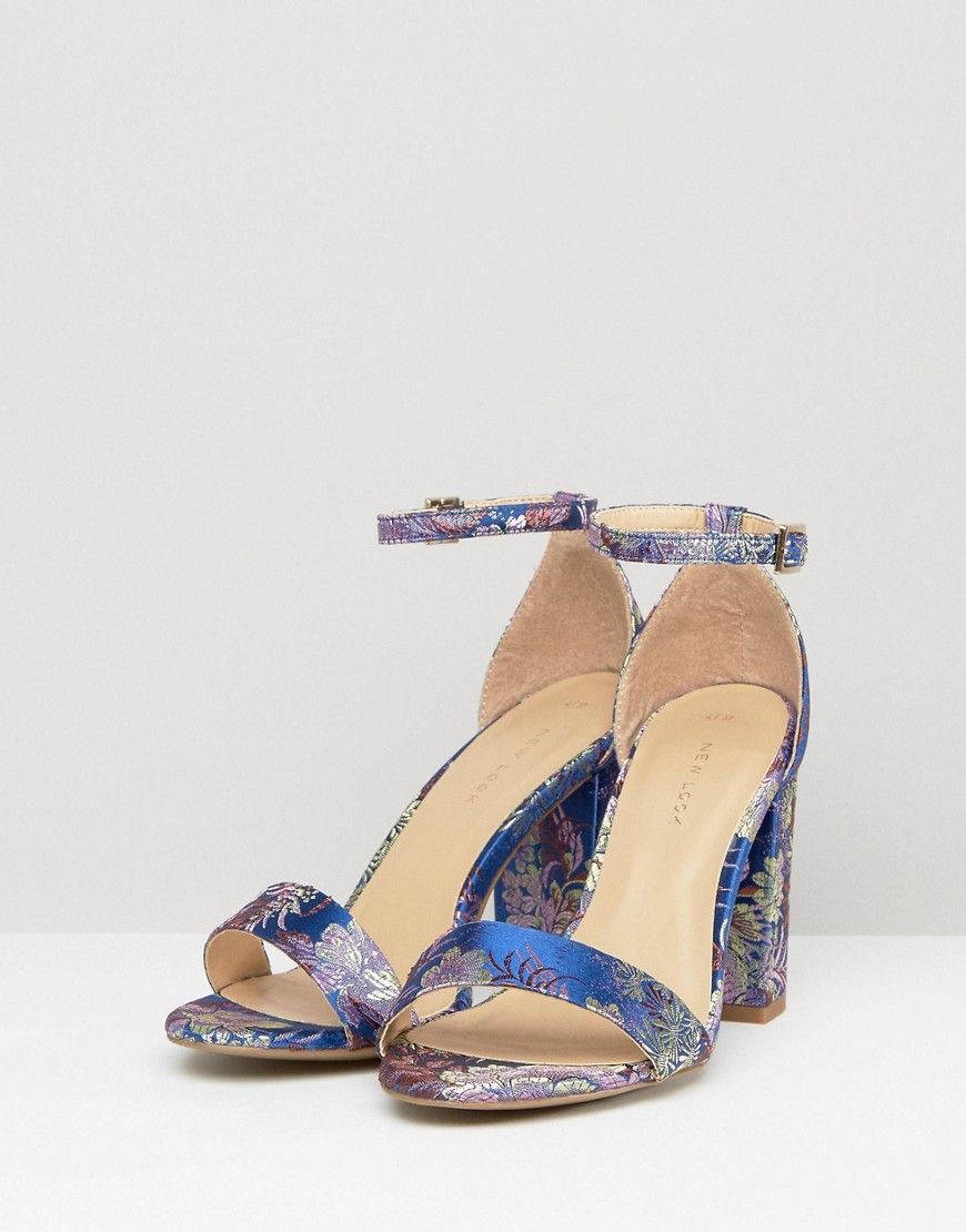 3f6a47cf3b8a New Look Navy Brocade 2 Part Block Heeled Sandal - Navy