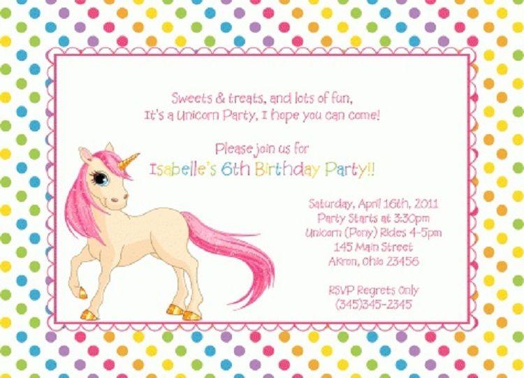 Unicorn Birthday Invitation Sayings