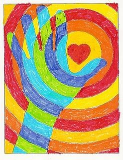 Great art project to warm people's hearts! And focus on warm and cool colors!