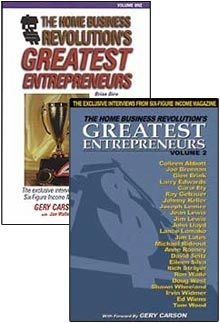 """The Home Business Revolution's Greatest Entrepreneurs"", details the strategies of individuals with well over 200 years of combined business experience...and collective earnings of over a half-million dollars a month! http://sfiprofitsnetwork.weebly.com/daily-deal/home-business-revolutions-greatest-entrepreneurs-series-volume-1-volume-2"