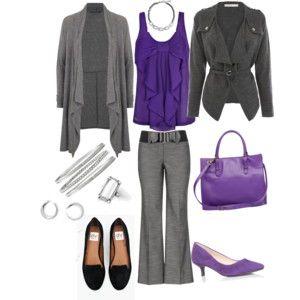 Lia Sophia Outfit, Purple and Grey