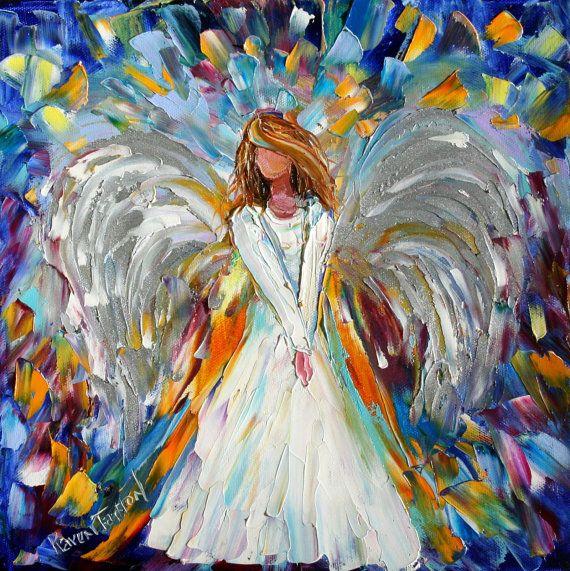Original oil painting ANGEL whimsical palette knife fine