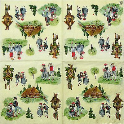 "4x Single Table Paper Napkins for Party, Decoupage, Craft ""Vintage Heimat"