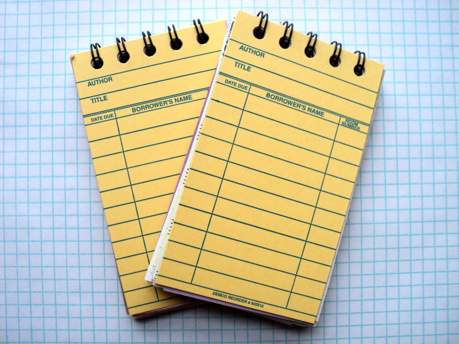 Yellow Library Card Notebook Checkout Card Librarian