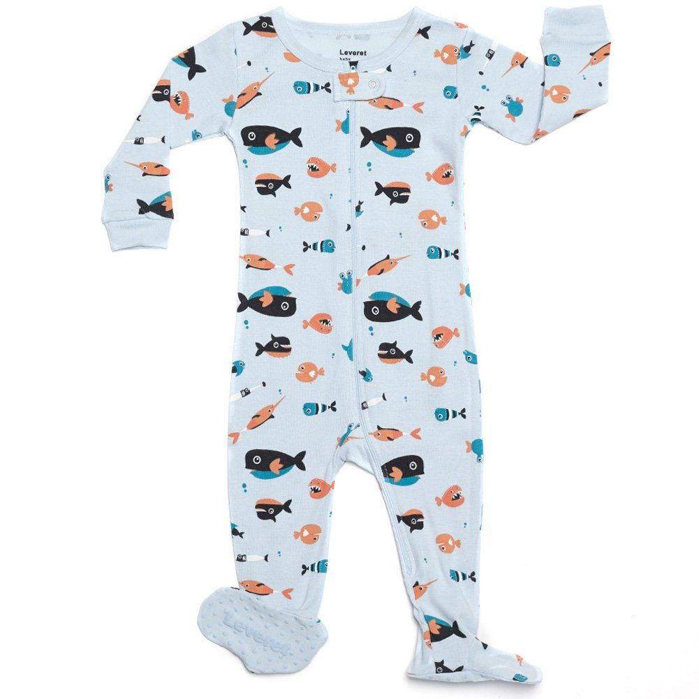 Amazon Com Leveret Footed Baby Boy Sharks Swimming Pajama Sleeper 100 Cotton Size 6m 5t Clothing Boys Footed Pajamas Foot Pyjamas Boy Outfits