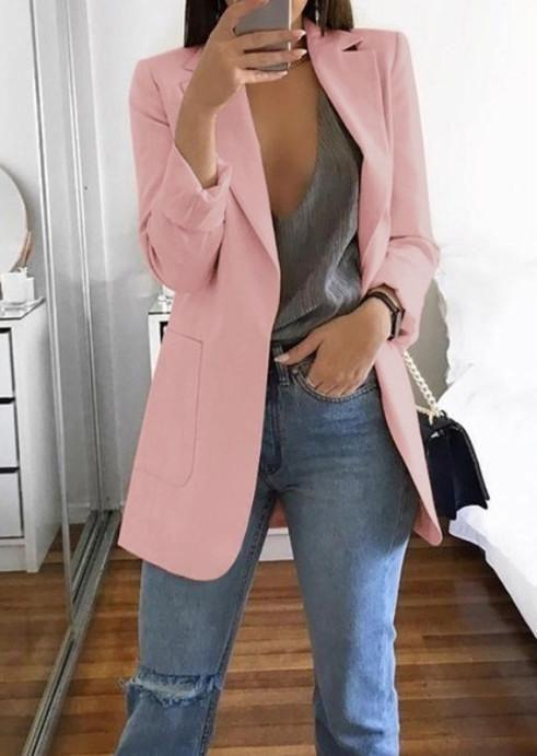 Women Plus Size Lapel Collar Jacket Coat Lady Long Sleeve Blazer Casual Cardigan