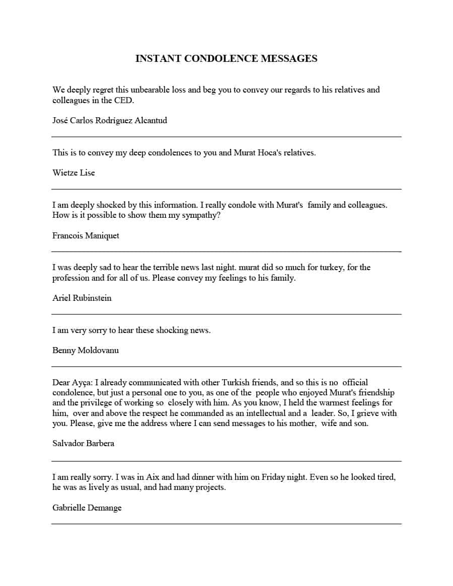 10 Condolence Letter Samples Printable Word Pdf Formats