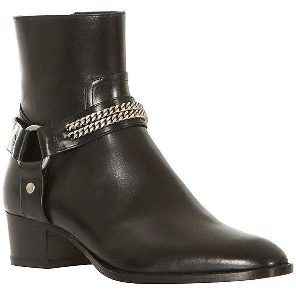 Saint Laurent black leather Rock booties ($1,480) via Polyvore