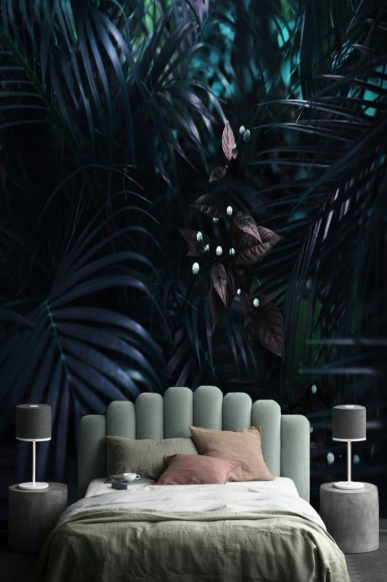 Purple Tropical Leaves Mural Wallpaper Dark Palm Leaf Removable Wallpaper Mural Jungle Remove Wall Paper Peel And Stick Floral Mural 172 In 2020 Tropical Bedrooms Jungle Mural Dark Bedroom