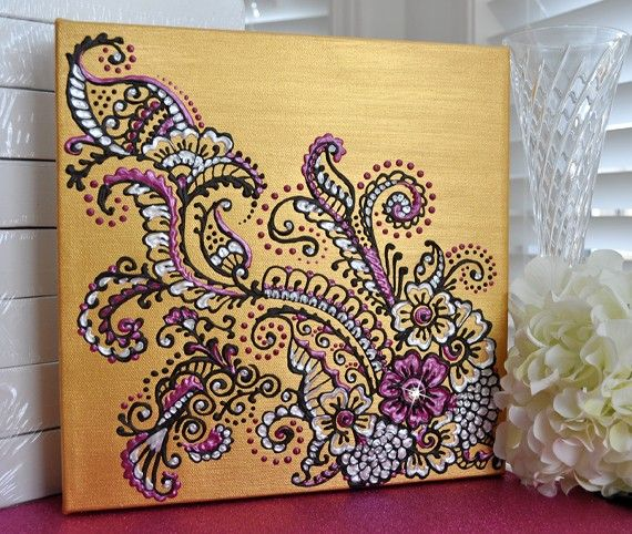 Henna/Mehndi Inspired Acrylic Painting on Canvas - Gold, Pearl & Fuschia Floral - Swarovski Crystal - Home Decor via Etsy