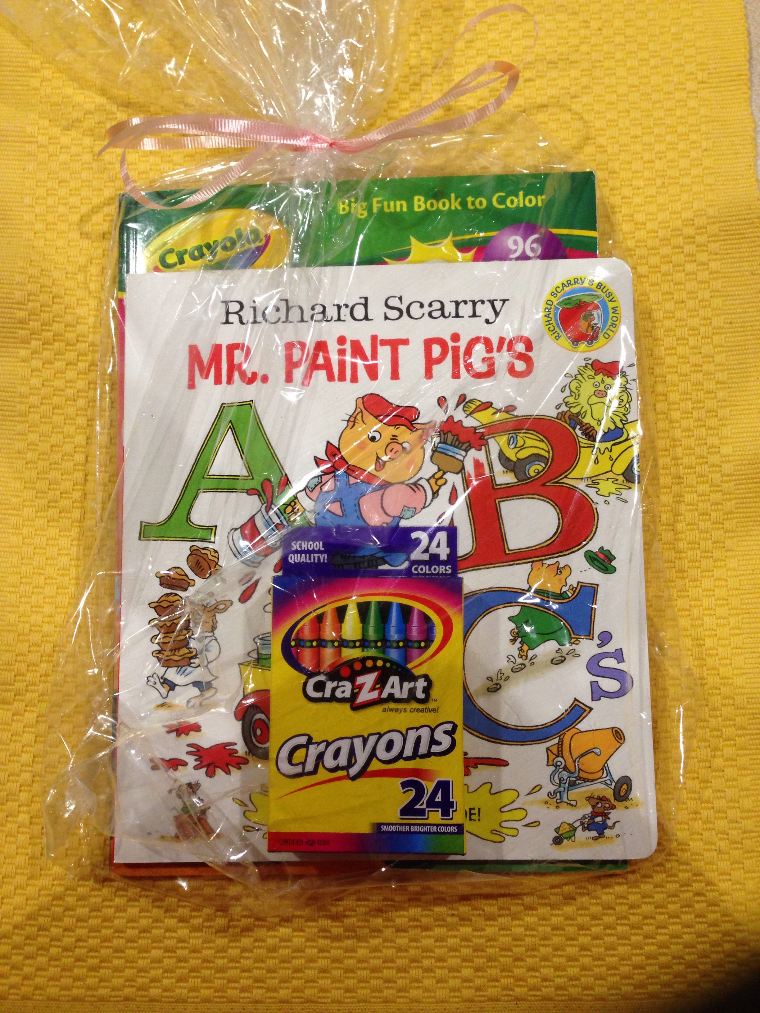 Kids party favor ABCs book coloring book and crayons