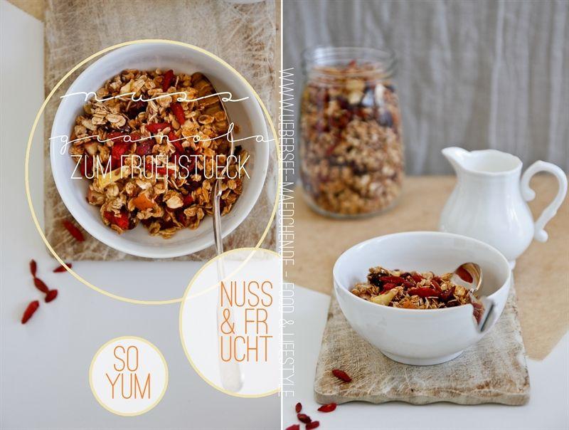 Nuss-Granola zum Frühstück | Selfmade Nut-Granola for breakfast with gojiberries via www.uebersee-maedchen.de