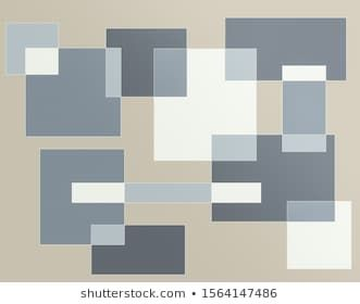 Grey and white square overlap on pale brown background