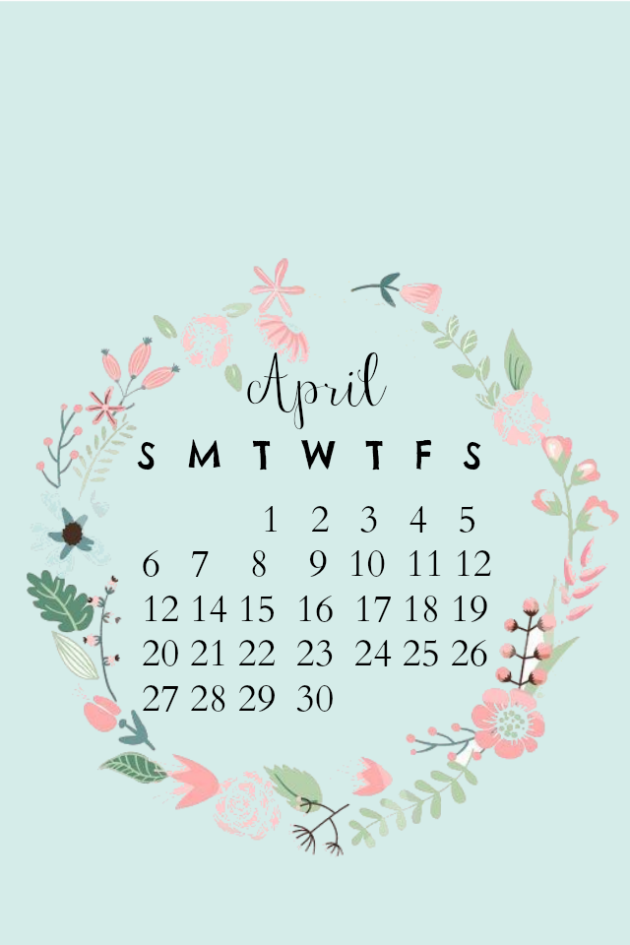 Cute Pretty Flower Calendar Wallpaper April Iphone Desktop Calendar Wallpaper Fondos