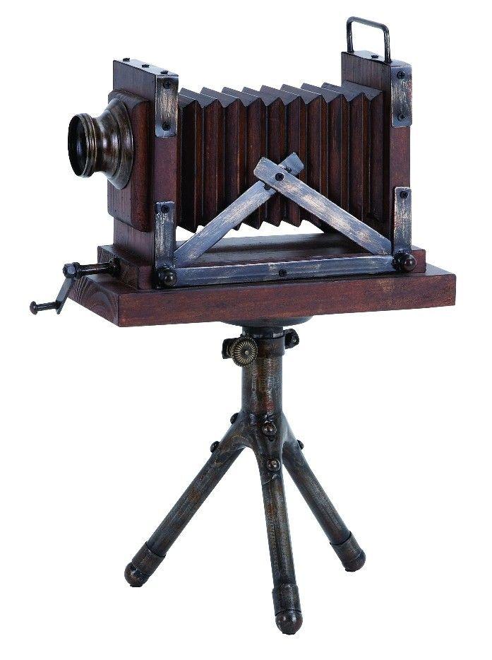 Antique Style Camera Rustic Brown Wood Metal Nostalgic Home D |lamp |  Lighting, Furniture