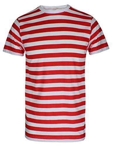 5e049b85f65 MENS BOYS RED  amp  WHITE STRIPED WHERE WALLY STYLE T SHIRT HAT GLASSES  FANCY DRESS