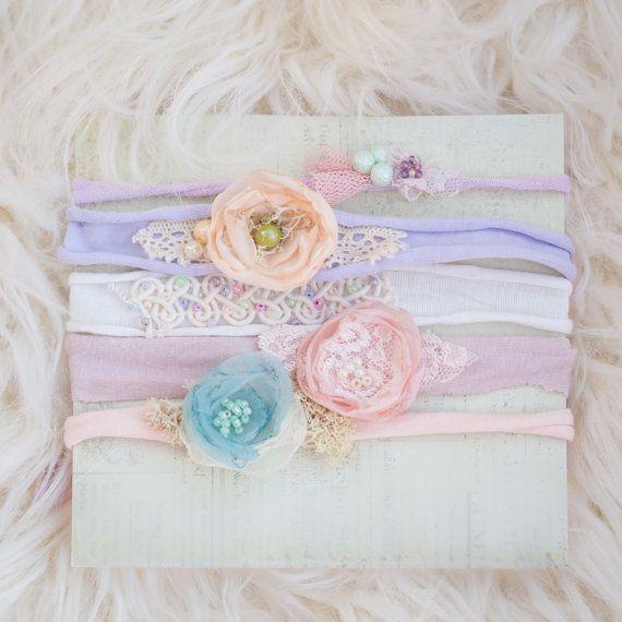 Items similar to pastel newborn tiebacks pack of 5 tiebacks lilac and pink tieback newborn headband props on etsy