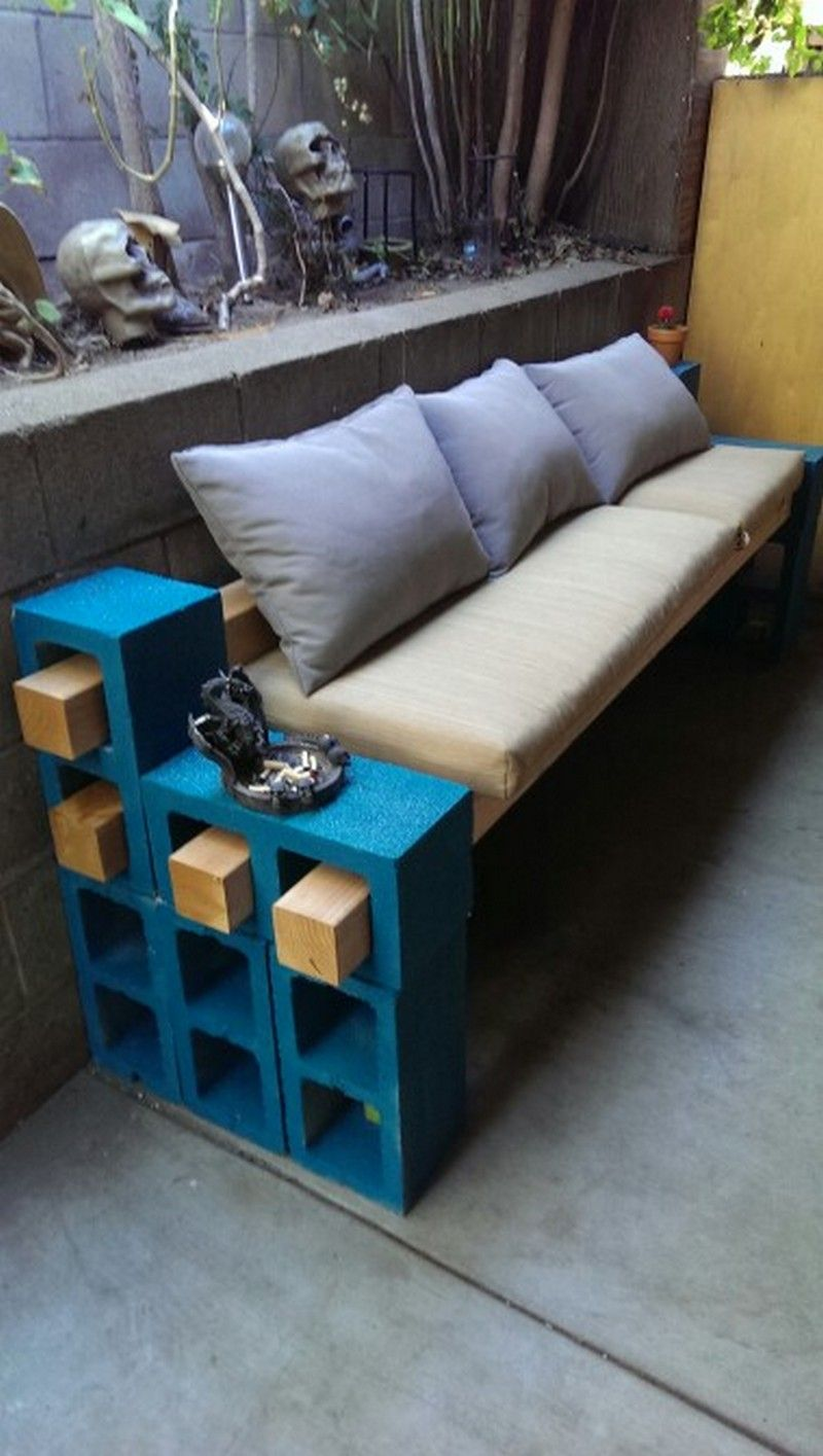 Diy cinder block outdoor bench the owner builder network for Cinder block seating area