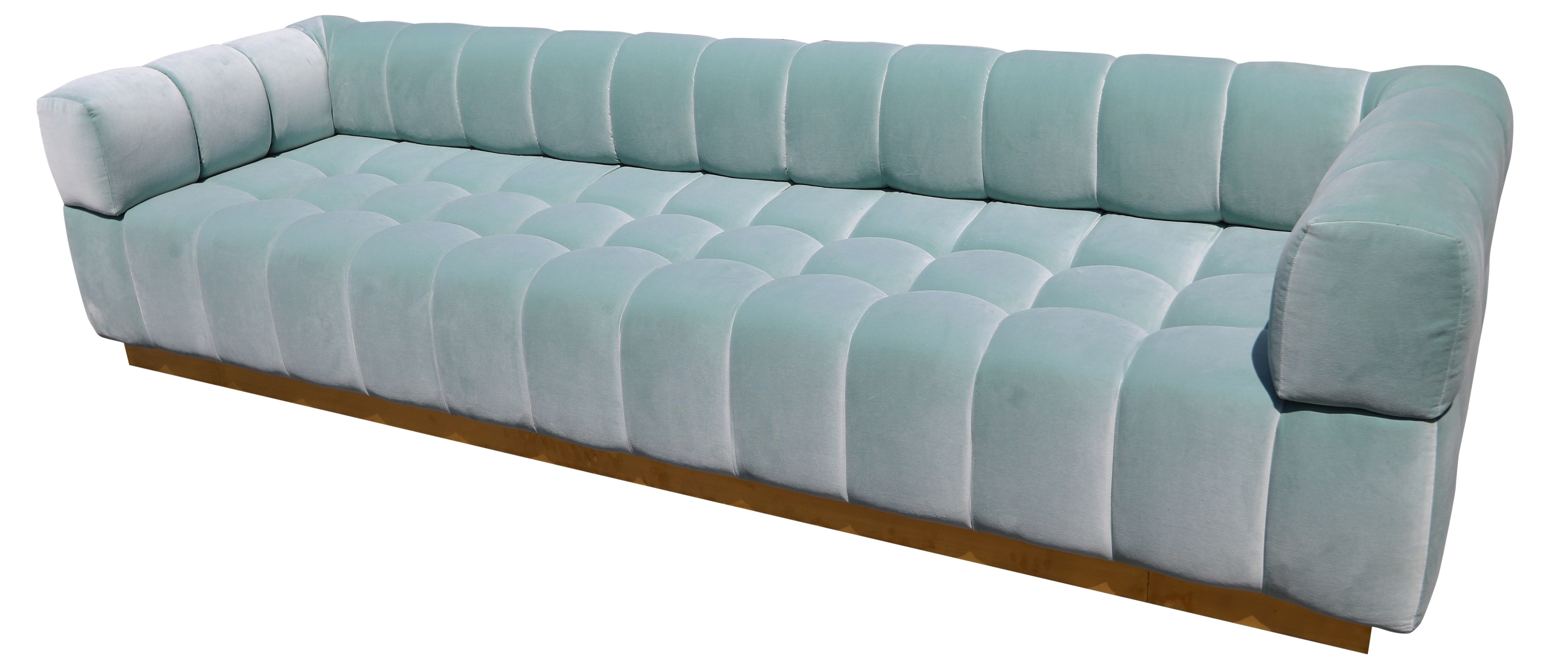 Pleasing Custom Tufted Aqua Blue Velvet Sofa With Brass Bas Cjindustries Chair Design For Home Cjindustriesco