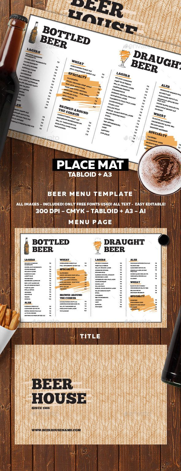 Beer Menu  Food Menu Print Templates And Menu