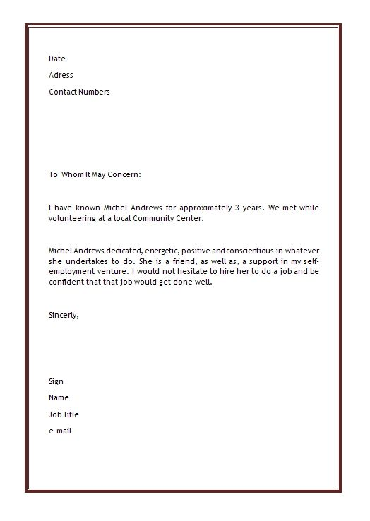 Personal Letter Of Recommendation business template Pinterest