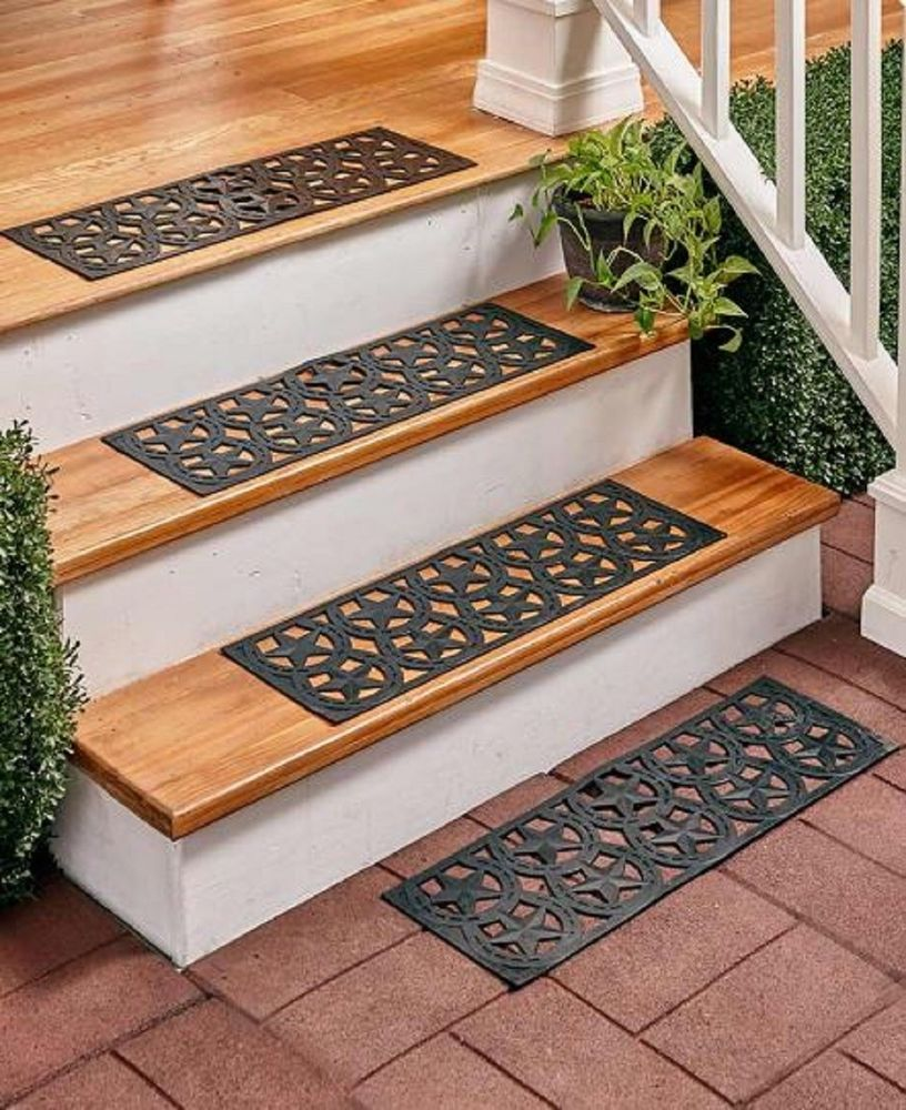 Stair Tread Mats Nonslip Rubber Step Treads Decorative Indoor Outdoor Traction Unbranded Country Outdoor Porch Stair Treads Outdoor Stairs