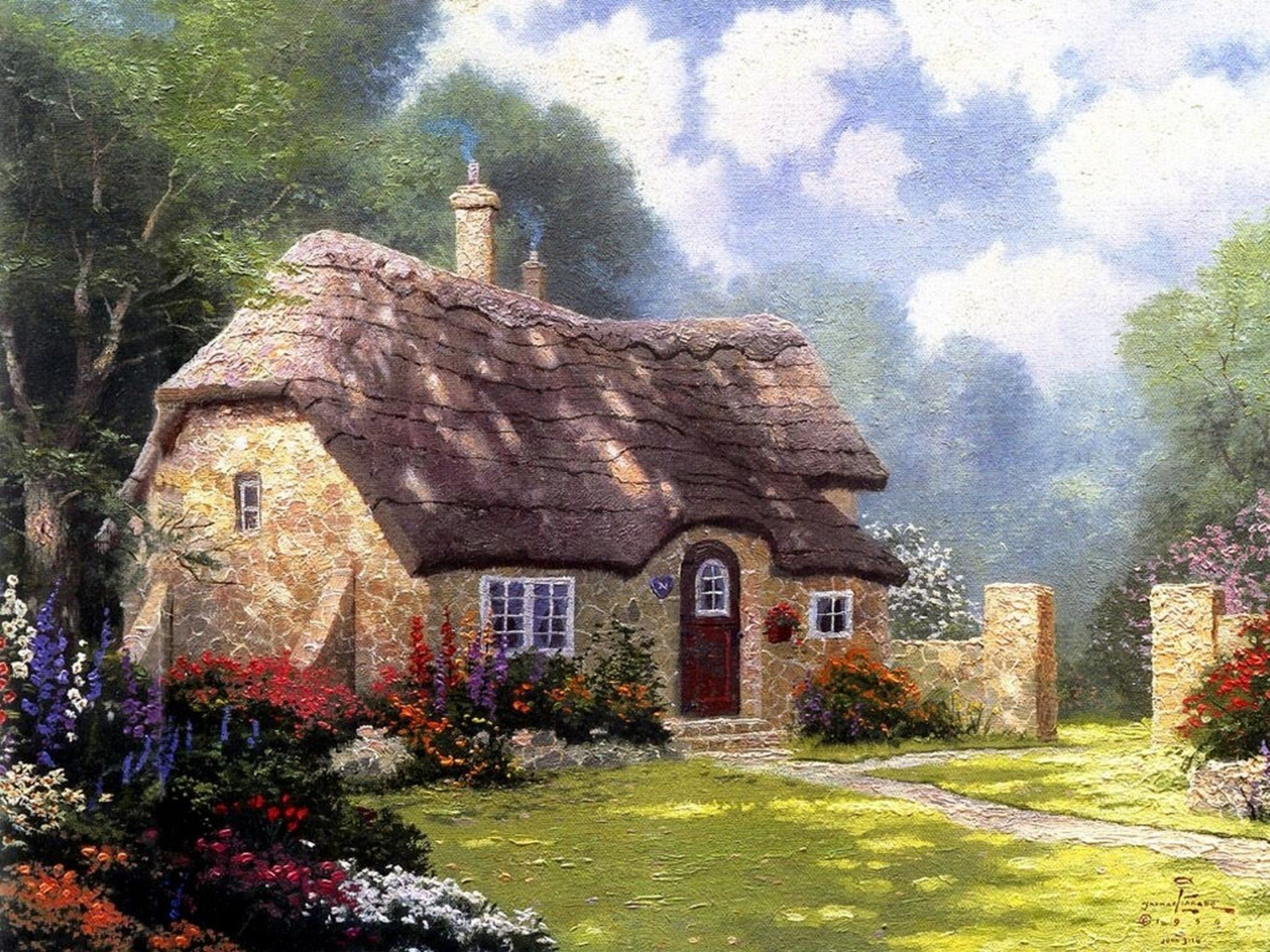 Cottage In The Forest Thomas Kinkade Painting Summer Nice House Stone