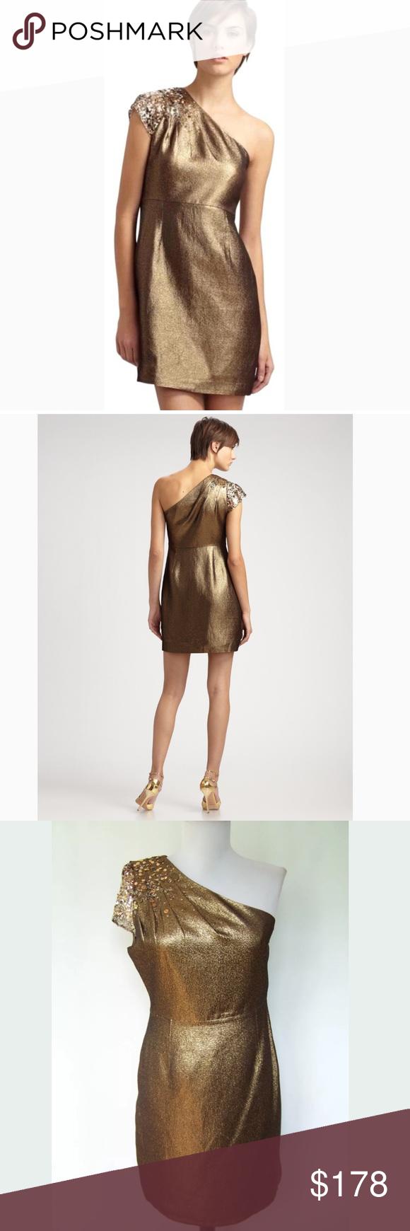 Elie Tahari Keaton One Shoulder Antique Gold Dress Beautiful Cocktail Dresses Clothes Design Fashion [ 1740 x 580 Pixel ]