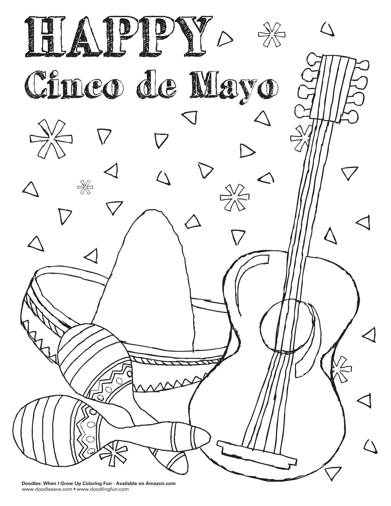 Cinco De Mayo Coloring Pages With Images Cartoon Coloring