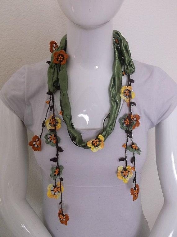 Crochet necklace scarf oya handmade women girl by TurkishDesing