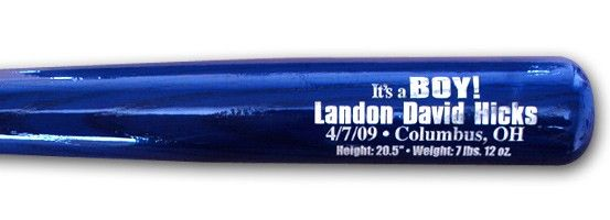 Baby boys first baseball bat personalized with the babys birth personalized baby gift engraved with babys name date of birth birth place height and weight negle Images