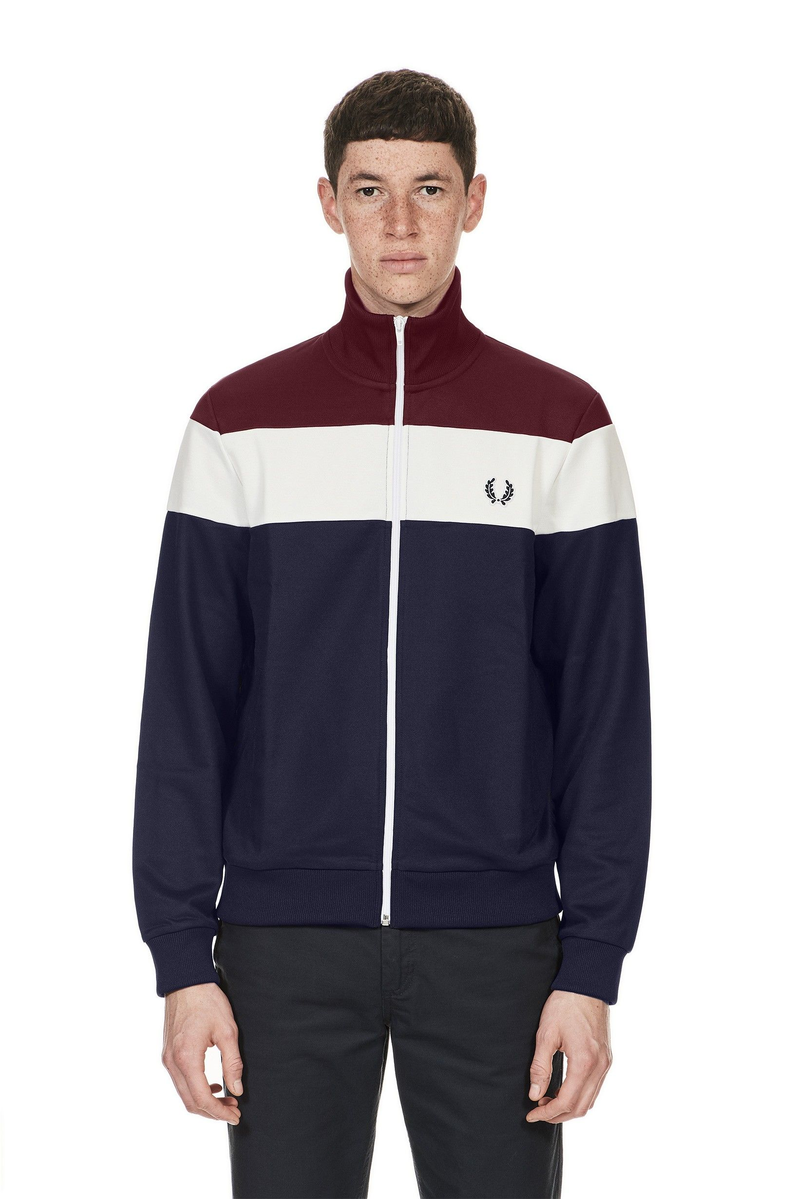 54d76345e049 Fred Perry - Sports Authentic Colour Block Track Jacket Carbon Blue ...
