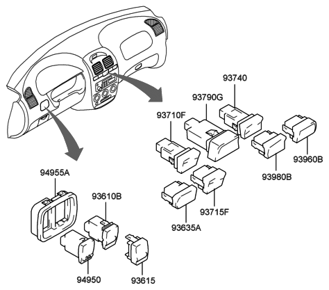 2001 Hyundai Accent Switch Diagram 9193511 Mobil