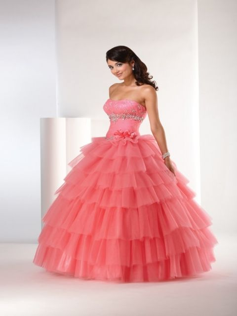 Strapless Beaded Puffed Tiered Ball Gown Quinceanera Dress