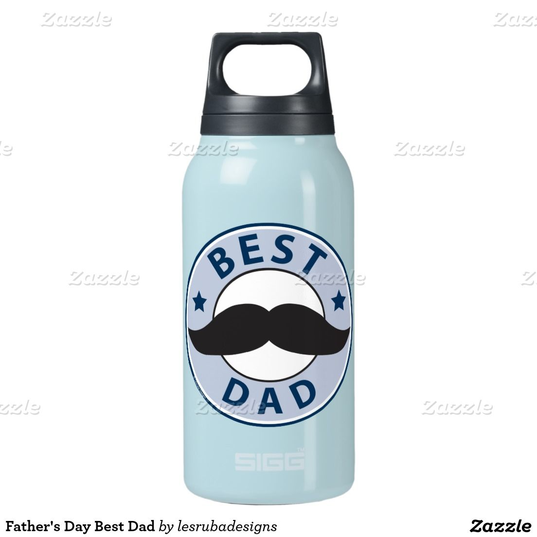 Father's Day Best Dad Mustache Design 10 Oz Insulated SIGG Thermos Water Bottle