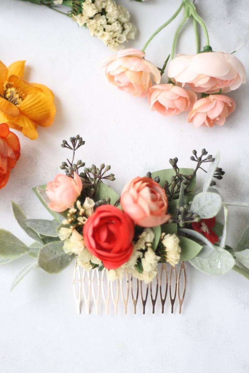 Eucalyptus Comb roses Bridal Adornment Wedding Hair accessory Combs Bridal Headpiece Flowers comb Headpiece Hair adornment Hair Comb