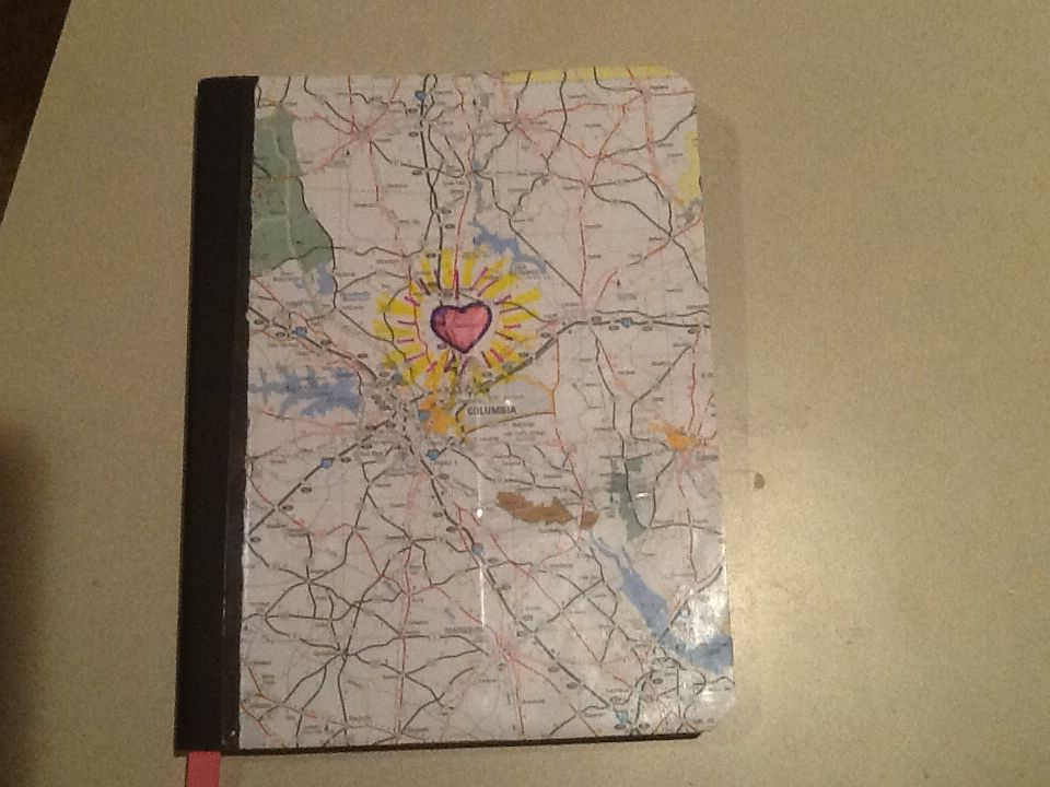 Photo of Social studies (SC History) notebook covered with sc map!! (Heart around hometow…