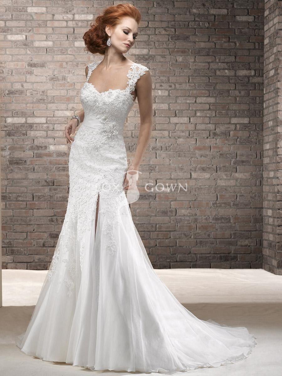 A-line Lace Wedding Dress with Cap-sleeves and Sweetheart Neckline ...