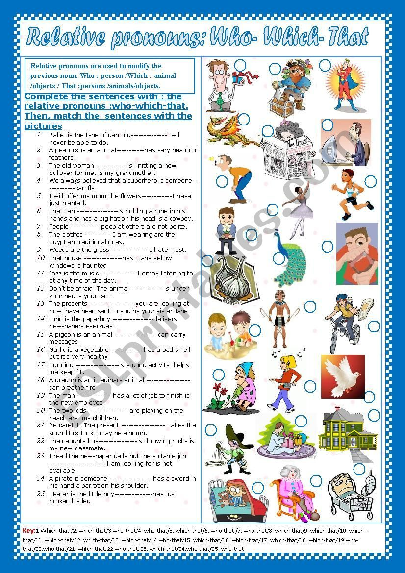 Relative Pronouns Who Which That Esl Worksheet By Falafel In 2020 Relative Pronouns Pronoun Worksheets
