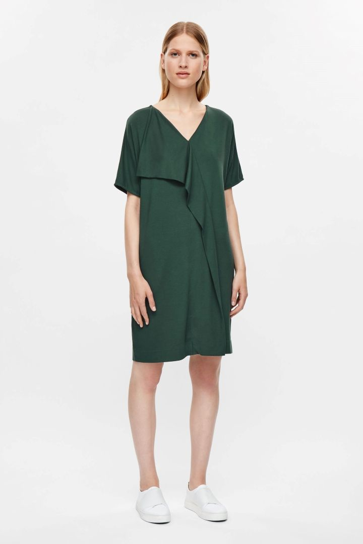 COS image 1 of Dress with asymmetric drape in Forest Green | Fashion ...