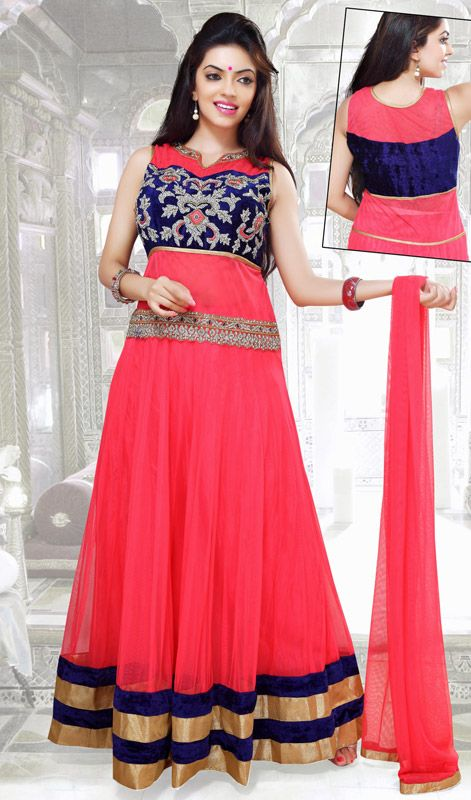 Pale Red Net Floor Length Anarkali Suit Price: Usa Dollar $195, British UK Pound £115, Euro143, Canada CA$210 , Indian Rs10530.