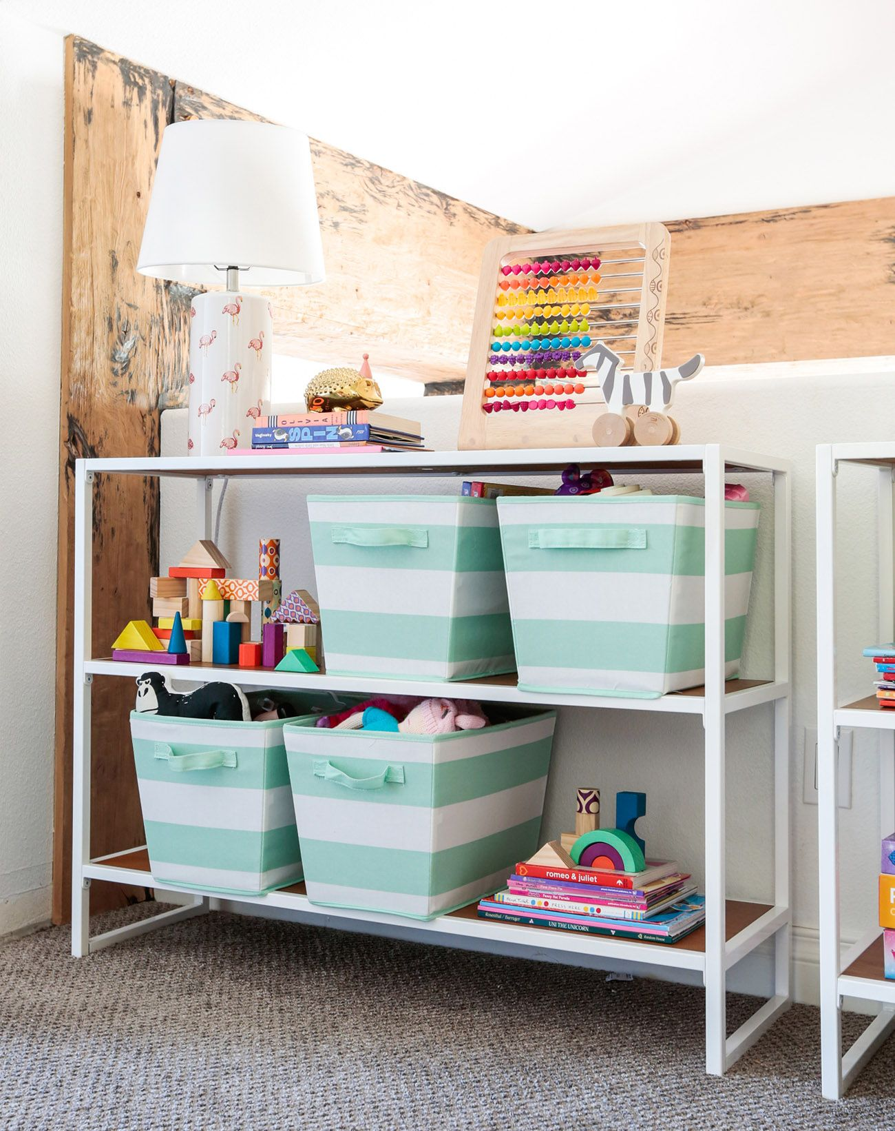 A Playroom With Target Pillowfort Emily Henderson Green Wedding Shoes Colorful Playroom Playroom Storage Pillow Fort
