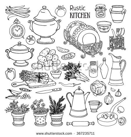 Hand Drawn Vector Set Of Rustic Kitchen Black And White Sketch Of